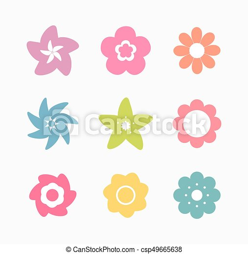 Set of colorful flower icons - csp49665638