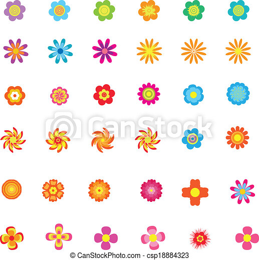 Set of colorful flower icons - csp18884323