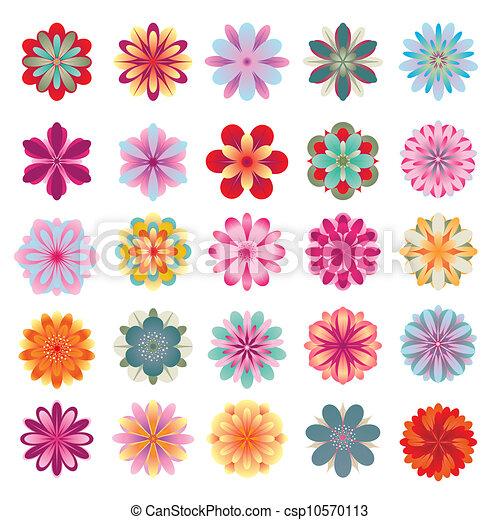 Set of colorful flower icons - csp10570113