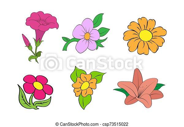 Set of colorful flowers. Simple design. - csp73515022