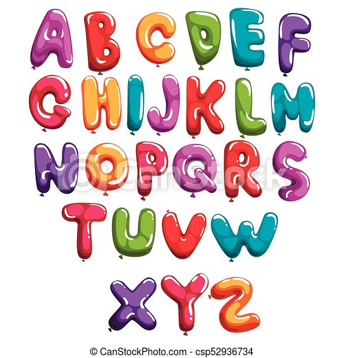 Set of colorful font in form balloons  Children's English alphabet  Letters  from A to Z  ABC concept  Flat vector design for print, poster,