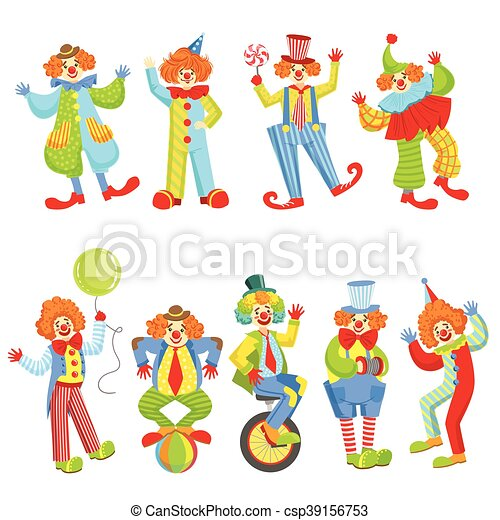 set of colorful friendly clowns in classic outfits childish circus