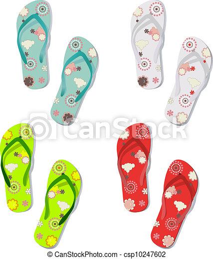 c0490d20628e Set of colorful fun flip flops. Vector set of colorful fun flip ...
