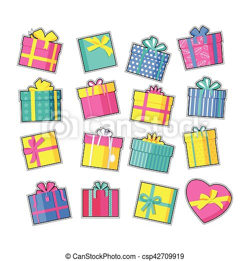 Set Of Colorful Gift Boxes