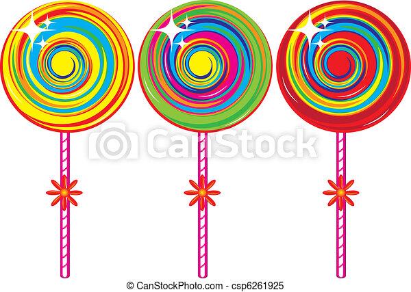set of colorful lollipops illustration on white background rh canstockphoto com Red Lollipop Logo Lollipop Company Logo with Flower