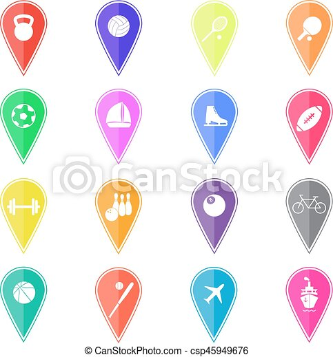 Set of colorful map pointers with sport icons. Vector illustration - csp45949676