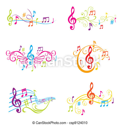 Set of Colorful Musical Notes Illustration - in vector - csp9124010