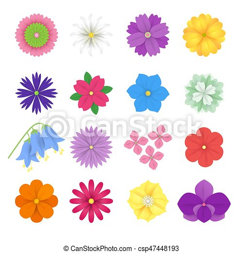 Set Of Colorful Paper Flowers White Background Vector Eps 10 Format