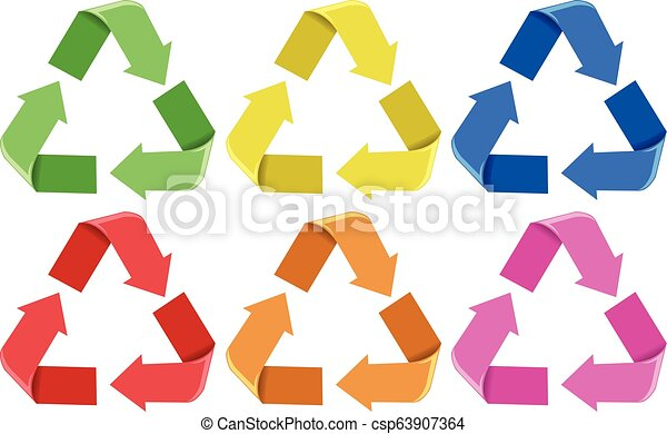 Set of colorful recycle icons - csp63907364