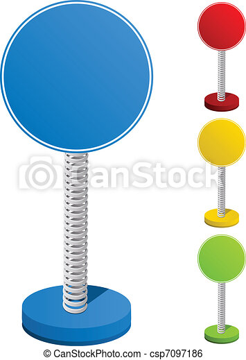 Set of Colorful Text Box on Metal Spring - csp7097186