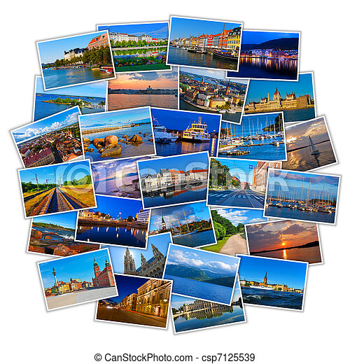 Set of colorful travel photos - csp7125539