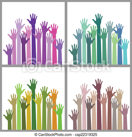 Set of colorful up hands - csp22319325