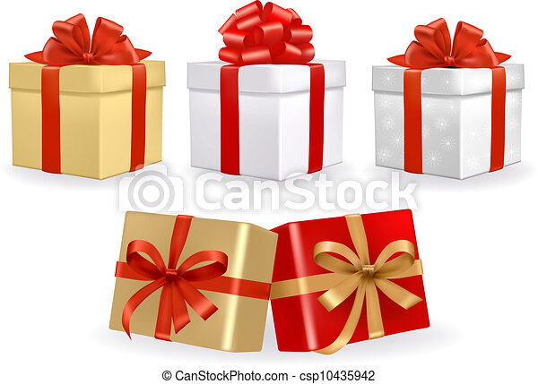Set of colorful vector gift boxes  - csp10435942