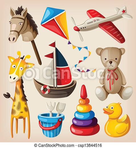 Set of colorful vintage toys - csp13844516