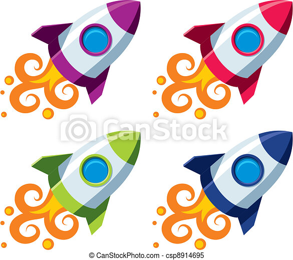 set of colourful rockets vector rocket in four color clipart rh canstockphoto com rocket clip art png rocket clipart images