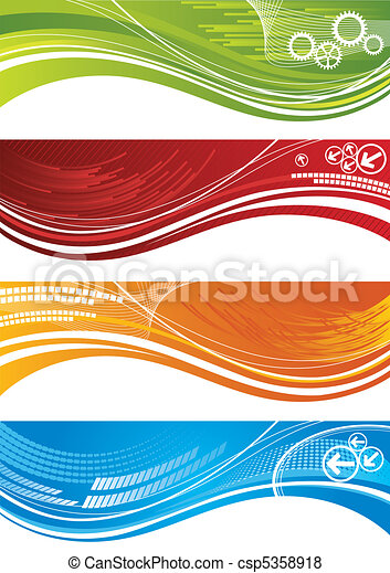 Set of colourful technical banners - csp5358918