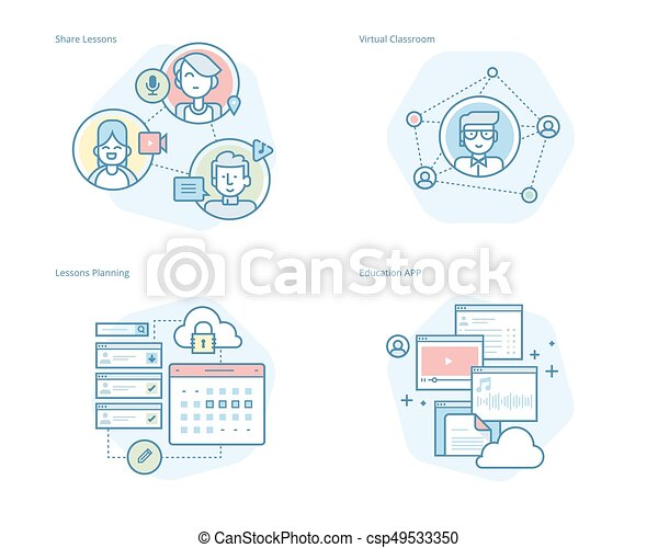 Set of concept line icons for online education, apps, virtual classroom, education network, lecture program for teachers - csp49533350
