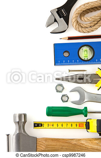 set of construction tools isolated on white  - csp9987246