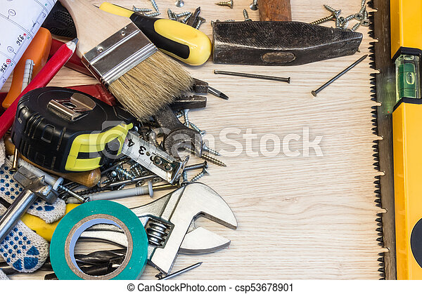 Set of construction tools, the tools lie around, center free, composition  power tools