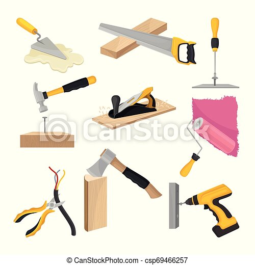 Set of construction tools. Vector illustration on white background. - csp69466257