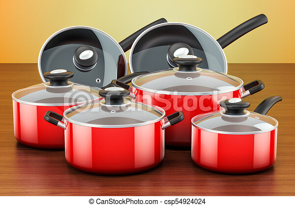Set Of Cooking Red Kitchen Utensils And Cookware. Pots And Pans On The  Wooden Table