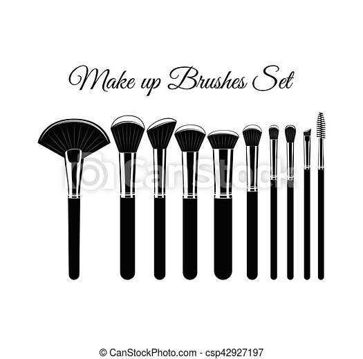Set of Cosmetic Brushes for Make up. Isolated On White Background - csp42927197