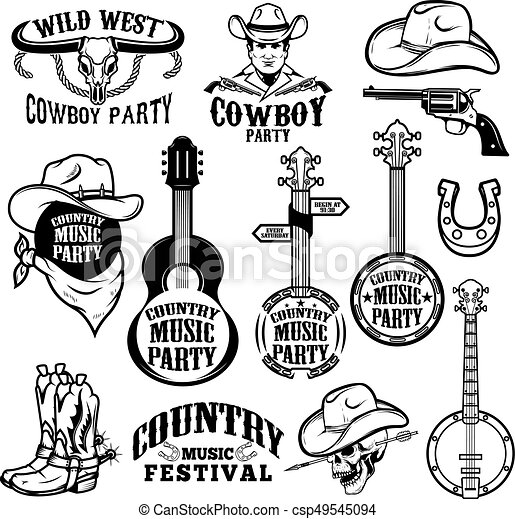 Set Of Country Music Festival Emblems And Design Elements Cowboy