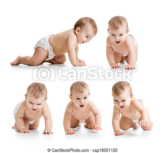 Set of crawling baby wearing diaper. Isolated on white bakground. - csp18551120