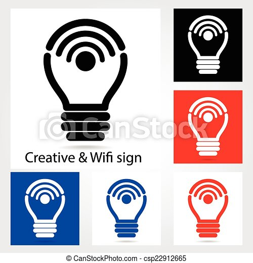 set of creative light bulb with wifi icons for business or clip rh canstockphoto com Phone Icon Car Icon Clip Art