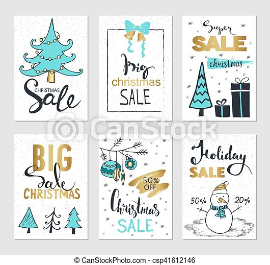 Set Of Creative Sale Holiday Website Banner Templates Christmas And New Year Illustrations For
