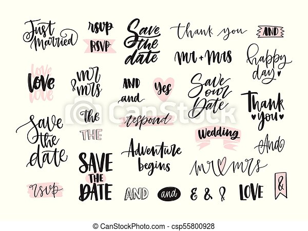 Wedding Calligraphy Fonts.Set Of Creative Wedding Lettering Or Inscriptions Written With Decorative Calligraphic Font Bundle Of Phrases Words Ampersands Decorated With Cute