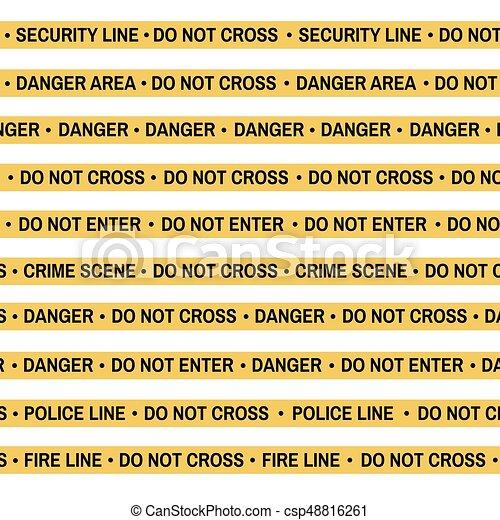 set of crime scene yellow tape police line danger fire do not
