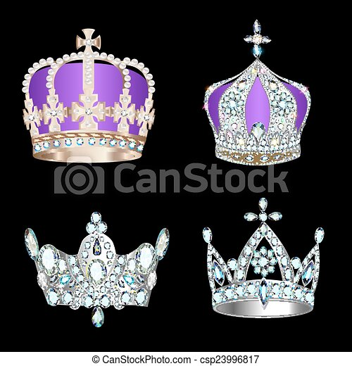 set of crowns with precious stones and pearls - csp23996817