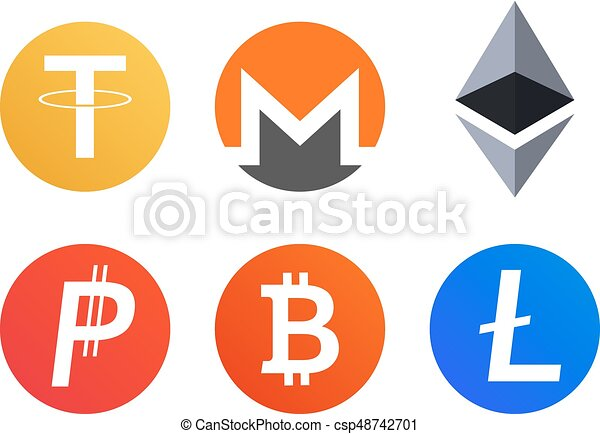 set of cryptocurrency coins icons symbols bitcoin monero vector rh canstockphoto ca clip art constitution clip art construction tools