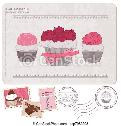 Set of cupcakes on old postcard, with stamps - for design and scrapbooking - csp7983398