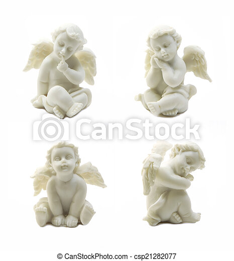 Set of cupid statue isolated on white background - csp21282077