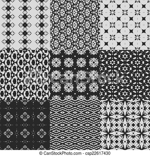 Set of curtain lace seamless generated textures - csp22617430