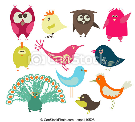set of cute birds  - csp4419526