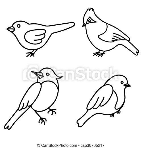 Set of cute birds in vector - csp30705217