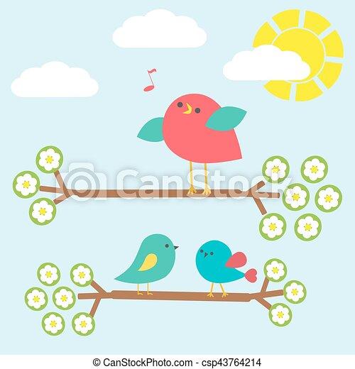 Set of cute birds on springtime branches - csp43764214