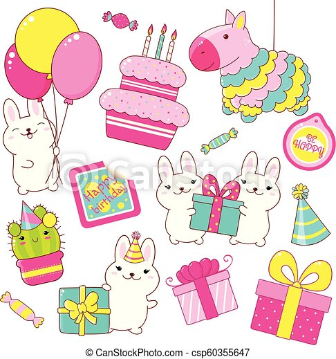 Set of cute Birthday party icons in kawaii style - csp60355647