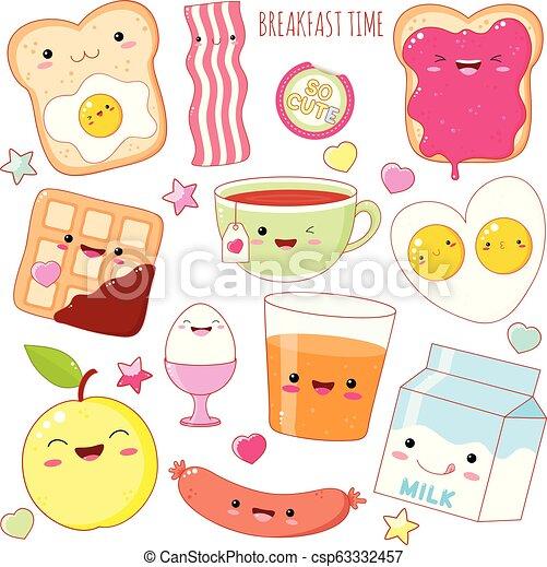 Set of cute breakfast food icons in kawaii style - csp63332457