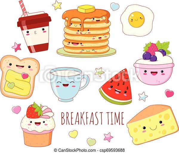 Set of cute breakfast food icons in kawaii style - csp69593688