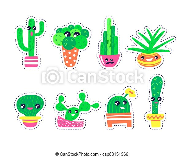 Set of cute cactuses stickers in kawaii style. - csp83151366