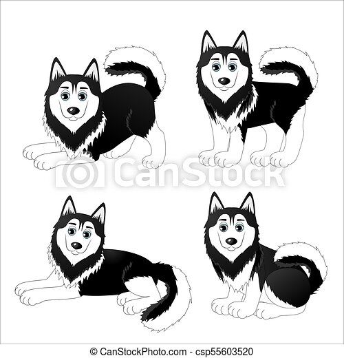 set of cute cartoon dogs husky