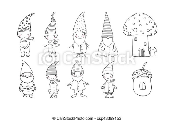 Set of cute cartoon gnomes. Funny elves. Hand drawing isolated objects on white background. Vector illustration. - csp43399153