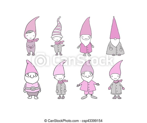 Set of cute cartoon gnomes. Funny elves. Hand drawing isolated objects on white background. Vector illustration. - csp43399154