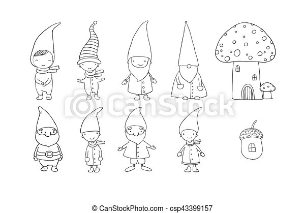 Set of cute cartoon gnomes. Funny elves. Hand drawing isolated objects on white background. Vector illustration. - csp43399157