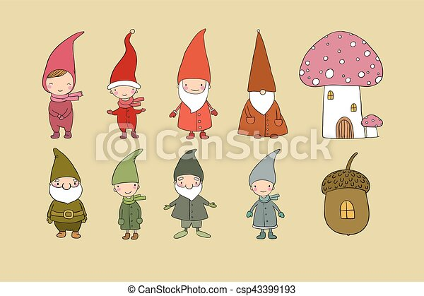 Set of cute cartoon gnomes. Funny elves. Hand drawing isolated objects on white background. Vector illustration. - csp43399193