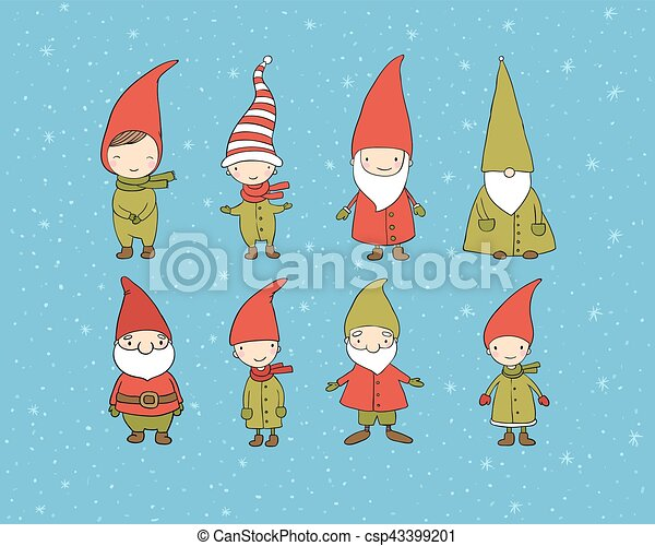Set of cute cartoon gnomes. Funny elves. Hand drawing isolated objects on white background. Vector illustration. - csp43399201